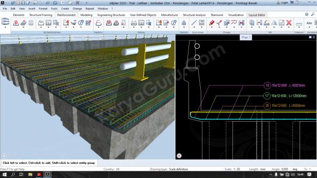 Tutorial BIM Allplan - Tulangan Pembagi Bawah Pelat Lantai Jembatan
