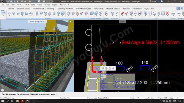 Penempatan Posisi Besi Angkur Tiang Sandaran Jembatan - Allplan Engineering
