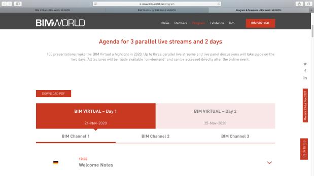 Agenda Live Streaming BIM Vurtual by BIM World MUNICH